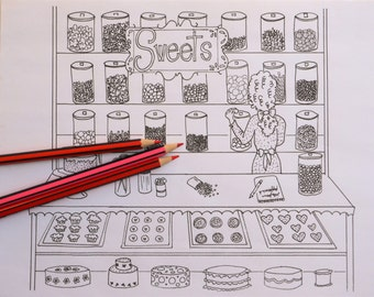 Sweet Shop Adult Coloring Page Candy Store Bake Shop