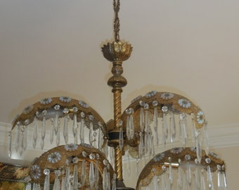 Gorgeous Hollywood Regency, Mid Century Palm Fronds  Six Lite Chandelier