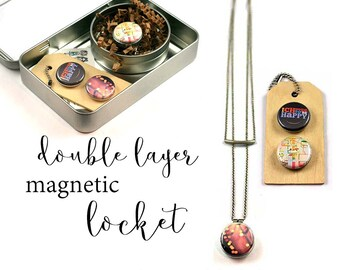 Layered Necklace Set, Layered and Long, Magnetic, HAPPINESS Necklace, Bokeh Locket, Amusement Ride Necklace, Recycled Steel, Polarity