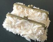 SALE - Frayed Chiffon Rosette Vanilla Clutch