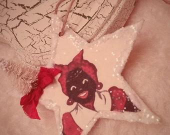 Shabby Vintage Primitive Wooden STAR Mammy Ornament