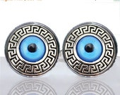 20% OFF - Round Glass Tile Cuff Links - Grecian Evil Eye CIR155