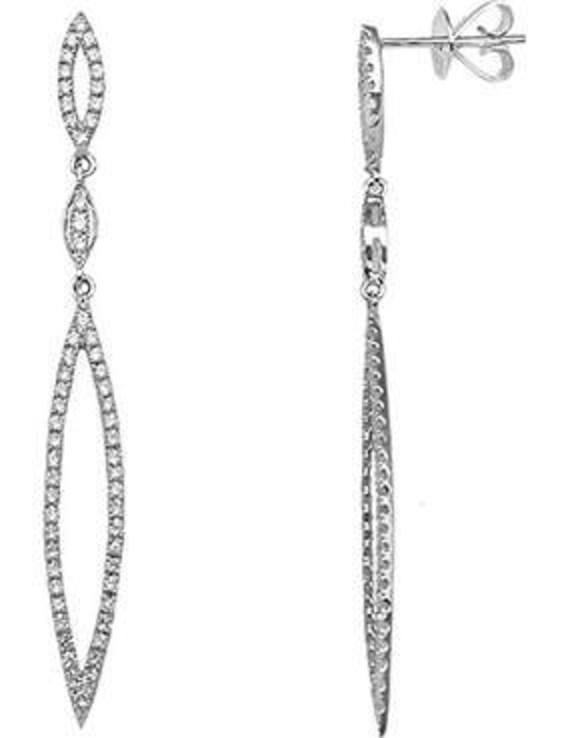 18 Carat White Gold Art Deco 0.6 Carats Diamond Drop Earring
