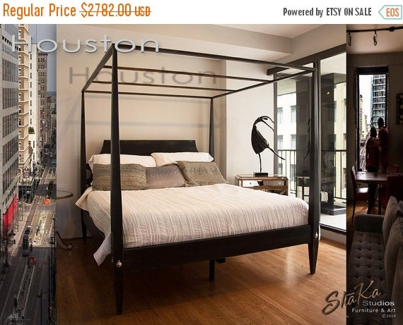 On sale king four poster canopy platform bed by shakastudios for Four poster beds sale