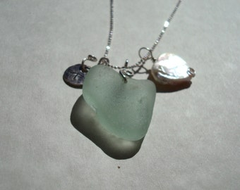 Sea Glass Necklace -Sea foam Heart Shaped Seaglass Heart Pearl and Starfish Charm -Sterling Silver Jewelry