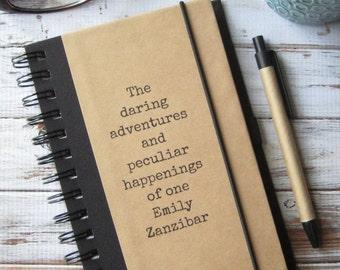 Personalized Writing Journal, Boyfriend Gift, Custom Notebook, Best Friend Gift, Personalized Gift, Teacher Gift, Daring Adventures
