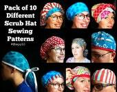 Scrub Hat Sewing Pattern ALL 10 DIY Downloadable PDF Sewing Instructions Tutorial Bouffant Men's Unisex Tieback Pixie Ponytail Reversible