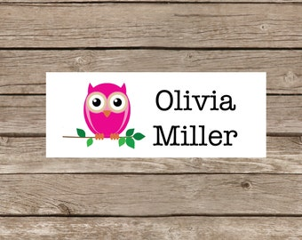 Personalized Labels, waterproof stickers, school labels, dishwasher safe labels, owl pattern, 24 stickers