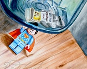 Miss Independent Superman lego ORIGINAL watercolor painting by Redstreake