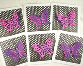 Pink Purple and Black 3D Butterfly Gift Cards Set of Twelve Monarch Spring Fly Flutter By Lunchbox Love Notes Wings Polka Dots Glitter Glue