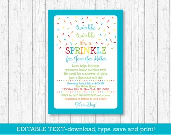 Blue Baby Sprinkle Invitation / Twinkle Twinkle Sprinkle / Rainbow Sprinkles / Baby Boy Sprinkle / Editable PDF INSTANT DOWNLOAD A110