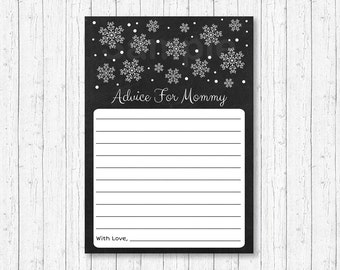 Snowflake Mommy Advice Cards / Snowflake Baby Shower / Winter Baby Shower / Chalkboard / Words of Wisdom / Printable INSTANT DOWNLOAD A129