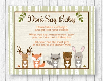 Woodland Forest Animal Don't Say Baby Baby Shower Game / Woodland Baby Shower / Clothespin Baby Shower Game / INSTANT DOWNLOAD