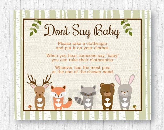 Woodland Forest Animal Don T Say Baby Baby Shower Game