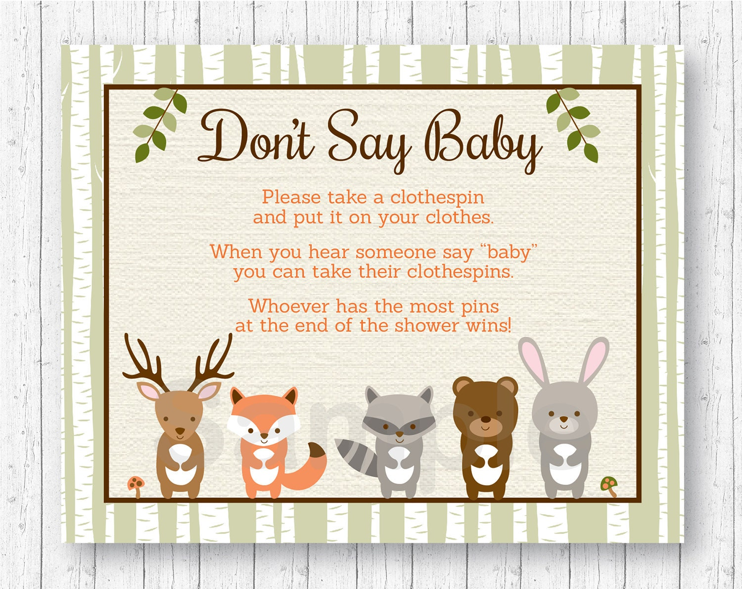 Woodland Forest Animal Don't Say Baby Baby Shower Game