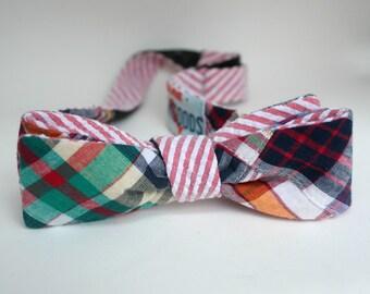 Madras Bow Tie Reversible Red White Seersucker Madras Mens Summer Bow Tie Groom Groomsmen Ring Bearer Bowtie Summer Wedding or Photo Prop