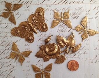 Brass ox butterfly stamp 7 pcs