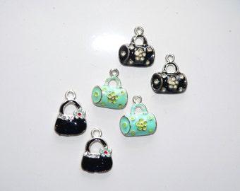 Purse charm Jewelry Supply Craft Supply Assorted Pendants Jewelry Finding Enamel Handbag Charms