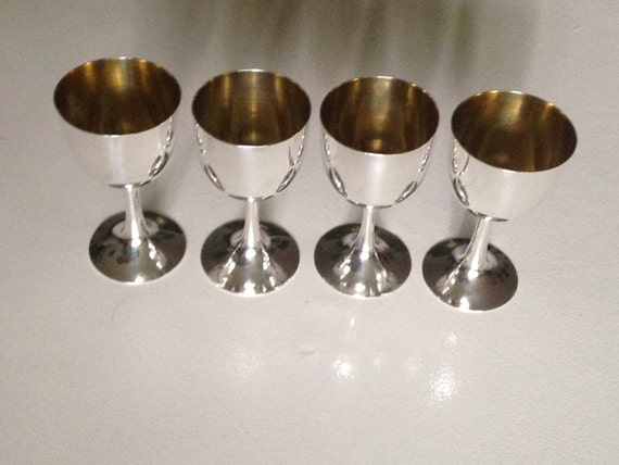 Chinese Export Gilded Sterling Silver Cordial Cup Set