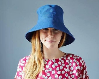 ON SALE - Retro Sun Hat in Royal Blue Canvas - Women's Sun Hat