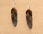 Handcarved Rainbow Poplar and Mahogany Wood Feather Earrings J160305