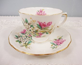 Royal Vale Pink and White Floral Bone China Teacup and Saucer