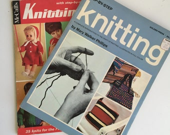 Vintage Knitting Books Bookets - Step By Step Beginners - 1960s Guides
