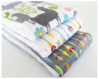 BABY LLAMAS ........ (3) very ABSORBENT 100% cotton baby burp cloths with coordinating fun minky prints....very useful gift