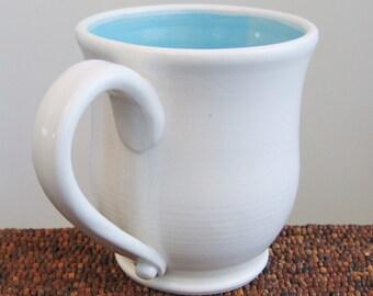 Large Coffee Mug 18 oz. Stoneware Ceramic Handmade Pottery Mug Blue Coffee Cup in Lagoon