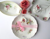 Vintage Mismatched Floral Serving Plates Nippon Set of Three - Weddings Bridal Decor