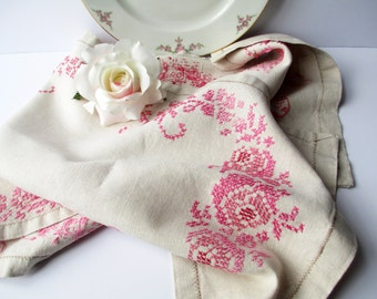 Vintage Table Runner Pink Red Floral Cross Stitched - Tea Parties