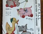 Vintage Toddler Felt Toy Pattern circa 1946 Craft Pattern McCall 1296 Animal Felt And Pull Toy Pattern Childs Stuffed Felt Toy Pattern