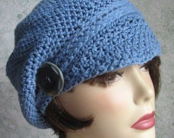 Womens Crochet Newsboy Hat With Visor Brim And Button Trim Chemo Hat of Soft Demin Blue Stone Wash Cotton Yarn Fits Head Sizes 20- 22 Inch