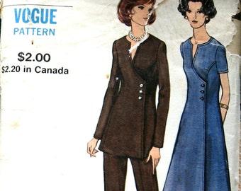 Vintage Vogue Womens Dress Pattern Side Wrap Dress Or Tunic With Pants Vogue 8105 Sz38 Uncut