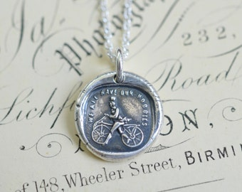 dandy horse wax seal necklace pendant - we all have our hobbies - bicycle necklace - hobby horse, running machine - gift -  wax seal jewelry