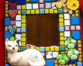 Mosaic Cat Mirror. Flowers & Hearts. Vintage Ceramic Cat with flowers.Yellow Blues Greens Pinks Reds. Cat with green pansies. Flowered Cat