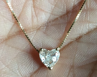 Pure love .55 carat heart shaped diamond solitaire prong set necklace G VS fine 14K solid gold chain pendant necklace one of a kind