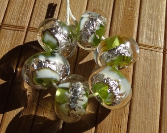 Buried Treasure Beads in Green---Handmade LAMPWORK Beads