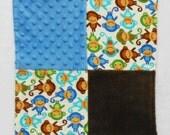 Monkey Baby Blanket - Small Blanket - Security Blanket - Lovey - Baby Shower Gift - Baby Boy Blanket - Brown - Blue