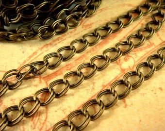 25ft Antique Bronze Chain Double Link 5x4mm Iron Not Soldered - 25 ft - STR9022CH-AB25