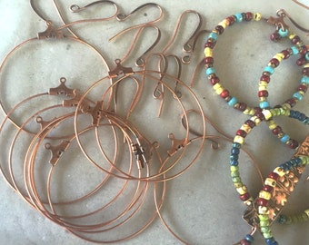 Bead Hoop & Earwire Kit ~ Your choice Ant Copper, Brass or Silver - Makes 5 pair! Free US Shpg