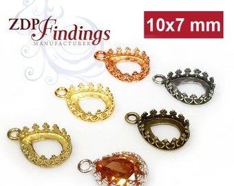 10pcs x Pear 10x7mm Quality Cast Bezel Cups For Setting. Choose your Finish (9318V)