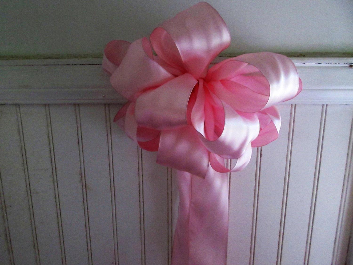 Bridal pew bow bouquet centerpiece light pink
