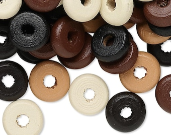 300 11x3mm Rondelle Beads Natural Colors,  Light Brown, Brown, Dark Brown, Natural and Black