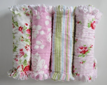 Girl Burp Cloths, Baby Gift Set, Rag Quilt Burpies, Flannel Burping Pads