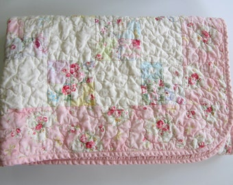 """Pink Baby Quilt,Baby Girl Nursery, 37.5""""x37.5"""", Patchwork Quilted Baby Blanket, Cottage Chic Decor"""