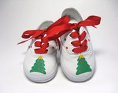 Christmas Tree Shoes, Holiday Sneakers, Christmas Outfit, Red and Green, 1st Christmas, Hand Painted for Baby and Toddler, Cotton Canvas
