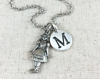 Alice in Wonderland Charm Necklace, Personalized Initial Jewelry, Silver Alice in Wonderland Necklace, Alice in Wonderland Gift