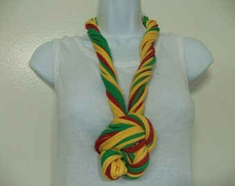 Infinity Scarf Necklace Multi Strand Multi Color Red Green and Gold Ethnic Fabric Necklace