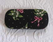 glasses case . quilted hard case . lily of the valley glasses case . eyewear case . lily of the valley . hard glasses case